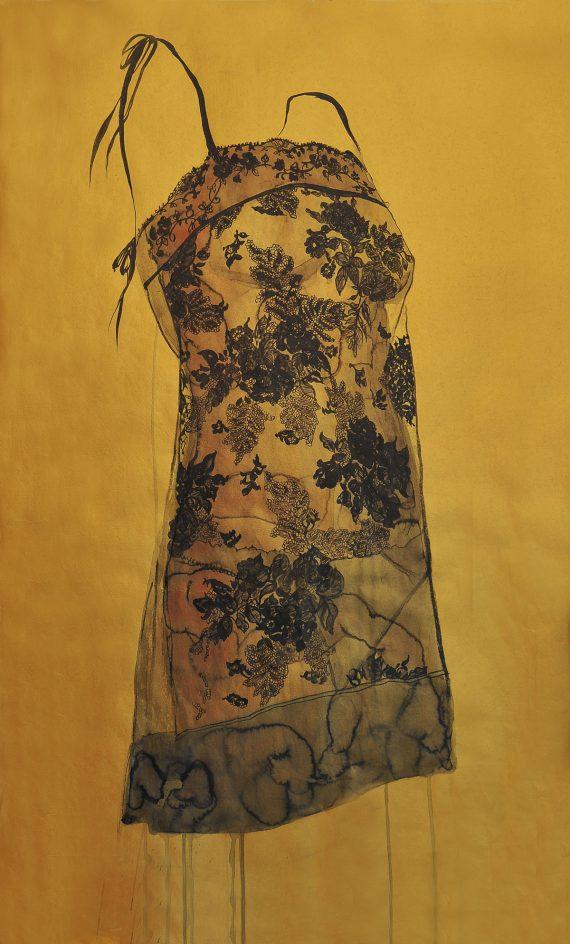 Secret de Boudoir series 1411, ink and color on golden Xuan paper, 95X58cm, 2014 by Hong Wai